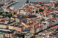 Bergen city in Norway view from hill Stock Images
