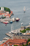 Bergen city in Norway view from hill Royalty Free Stock Image