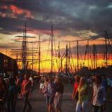 Bergen City onder het lange schip rennen Royalty-vrije Stock Afbeeldingen