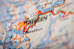 Bergen City on a Road Map Royalty Free Stock Photography