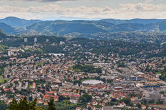 Bergen City Skyline from Floyen mountain, Norway Royalty Free Stock Images