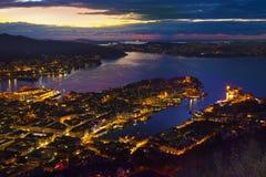 Bergen City Skyline, Norway. From Floyen mountain by Fløibanen. Stock Photos