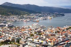 Bergen city. Top view of Bergen city in Norway Stock Photos