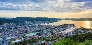Bergen city view. HDR. Bergen, Norway city view from mountain Floyen Royalty Free Stock Photos