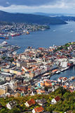 Bergen city view from hill Royalty Free Stock Photos