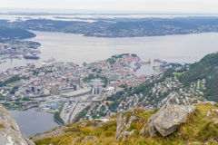 Bergen city view. View of Bergen from Mount Ulriken Royalty Free Stock Photos