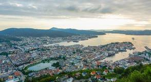 Bergen city view. Bergen, Norway city view from mountain Floyen Stock Image