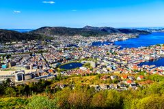 Bergen: colored buildings, lake and harbor Stock Photos