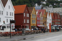 Bergen. Colourful street in Bergen royalty free stock photography