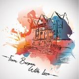 Bergen con amore, cartolina, acquerello illustrazione di stock