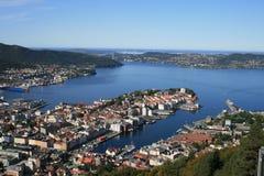 Bergen dalla collina Immagine Stock