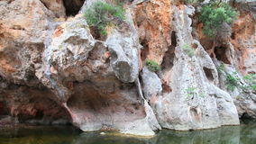 Bergen in de canion van Sa Calobra, het Eiland van Mallorca, Spanje stock video