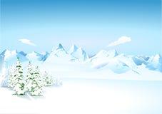 Bergen in de sneeuw Stock Afbeelding