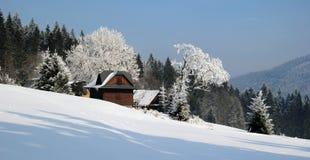 Bergen in de wintertijd stock afbeelding