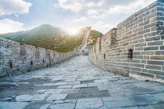 Bergen, den stora väggen av forntida kinesisk arkitektur Arkivbild