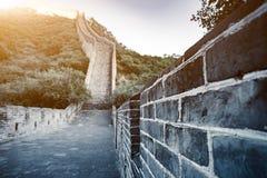 Bergen, den stora väggen av forntida kinesisk arkitektur Arkivbilder