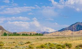 Bergen dichtbij het meer van Issyk- Kul in Kyrgystan tijdens zomer stock fotografie