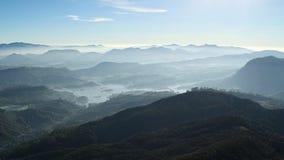 Bergen en de mening van Srilankan de mistige aan het Maskeliya-reservoir Stock Foto