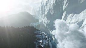 Bergen en gletsjer stock footage