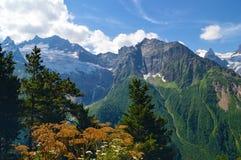 Bergen en gletsjers in Dombay, de Westelijke Kaukasus, Rusland Royalty-vrije Stock Foto's