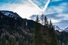 Bergen en hemellandschap met bomen stock afbeelding