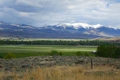 Bergen en landbouwbedrijven - Challis, Idaho stock afbeelding