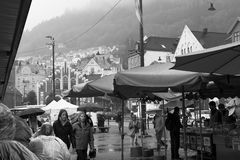 Bergen Fish Market in the Rain Royalty Free Stock Image