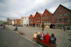Bergen-hölzerne Häuser Lizenzfreies Stockfoto