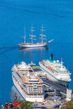 Bergen harbor with cruise ships in Norway, UNESCO World Heritage Site Stock Images
