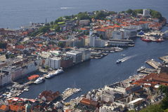 Bergen harbour. An overview of harbour and city of Bergen, Norway Royalty Free Stock Photos