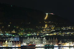 Bergen Harbour at night Stock Photo