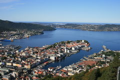 Bergen from the hill. A view of Bergen from the hill Stock Image