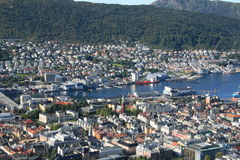 Bergen from the hill. A view of Bergen from the hill Royalty Free Stock Images