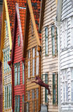 Bergen houses facades. Characteristic wooden houses near the port of Bergen, Norway. Colourful facades Royalty Free Stock Photos