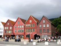 bergen houses trä Royaltyfria Bilder