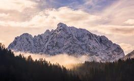 Bergen i dimman Arkivbild