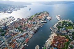 Bergen ist eine Stadt und ein Stadtbezirk in Hordaland auf der Westküste Lizenzfreies Stockbild