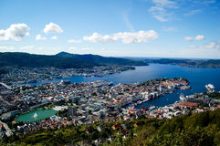 Bergen and its harbor in norway on a sunny day Stock Photography