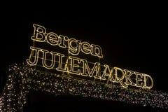 Bergen Julemarked, Kerstmismarkt in Bergen, Noorwegen Stock Foto's