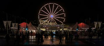 Bergen Julemarked, mercado de la Navidad en Bergen, Noruega Imagen de archivo