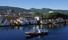 Bergen - la ville dans le fjord Images stock