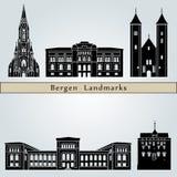 Bergen Landmarks illustrazione vettoriale