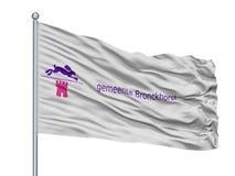Bergen Limburg City Flag On-Fahnenmast, die Niederlande, lokalisiert auf weißem Hintergrund lizenzfreie abbildung