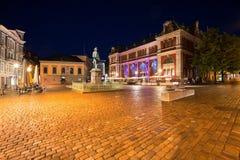 Bergen marknadsställe på natten Arkivbild