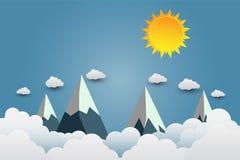 Bergen met mooie sunsets over de wolken Document art. Vecto vector illustratie