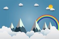 Bergen met mooie sunsets over de wolken Document art. Vector illustratie stock illustratie