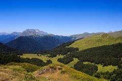 Bergen met sneeuw bos en groene alpen worden behandeld in de Kaukasus die royalty-vrije stock fotografie