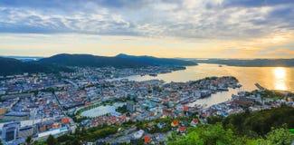 Bergen miasta widok HDR Zdjęcia Royalty Free