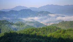 Bergen in mist stock foto's