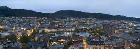 Bergen by night Royalty Free Stock Images